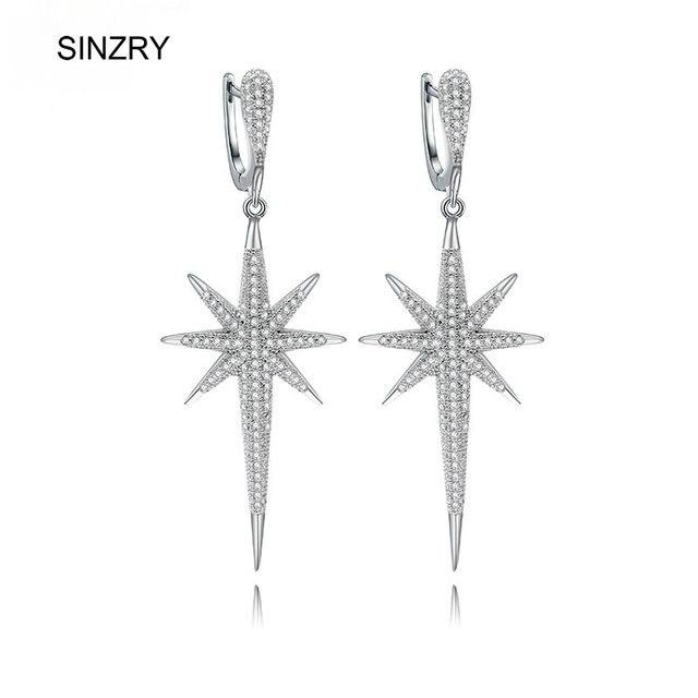 SINZRY прозрачный белый AAA кубический циркон микро проложили звезда форма элегантная Свадебная люстра серьги для женщин ювелирные изделия подарок