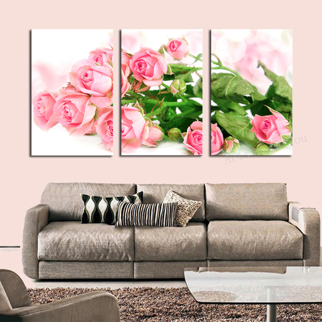 Unframed 3 p bright colored flower canvas print painting artwork modern home wall decor canvas hd
