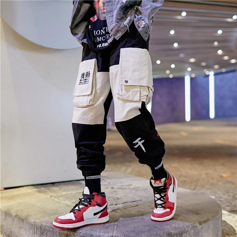 bolsillos Harem Carga hop Kanji Moda De Múltiples Invierno Hip Bordado Multi Jogger Tamaño Pantalones p1q7Zf