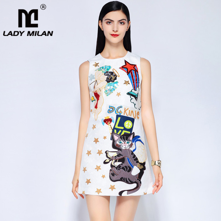 Lady Milan Womens O Neck Sleeveless Beaded Sequined Cartoons Printed Dobby A Line Fashion Short Designer Runway Dresses