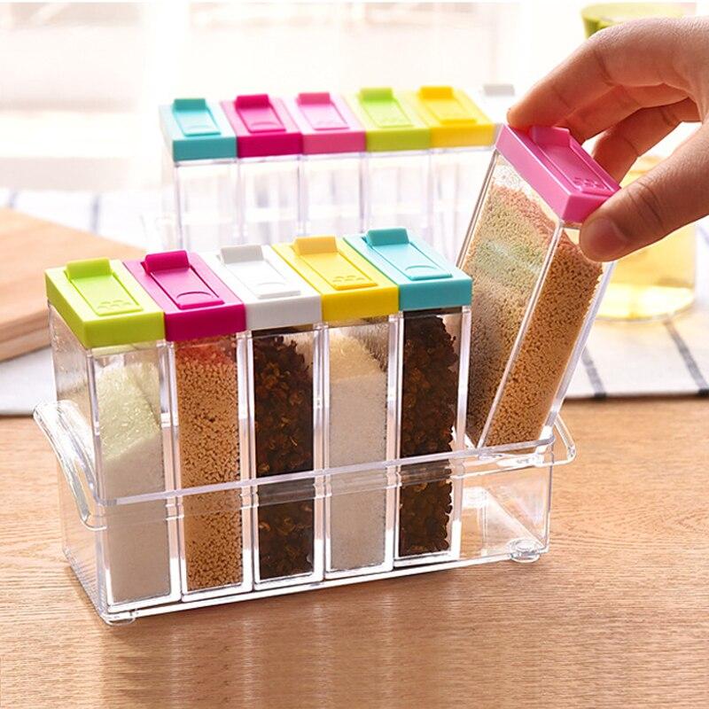 1 stücke Gewürz Glas Gewürz Box 6 stücke/Set Küche Gewürz Lagerung Flasche Gläser Transparent PP Salz Pfeffer Kreuzkümmel pulver Box Werkzeug