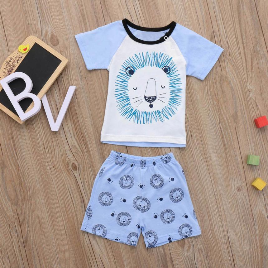 Cartoon Kids Kids Baby 2Pcs Newborn Baby Boys Girls Clothing Set Cartoon Lion Tops Shorts PJ Outfit Children Summer