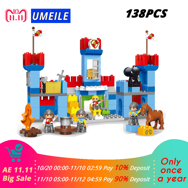 138PCS Warfare Soldiers Artillery Royal Castle Wall Block DIy Brick Set Kids Toys Compatible With brick