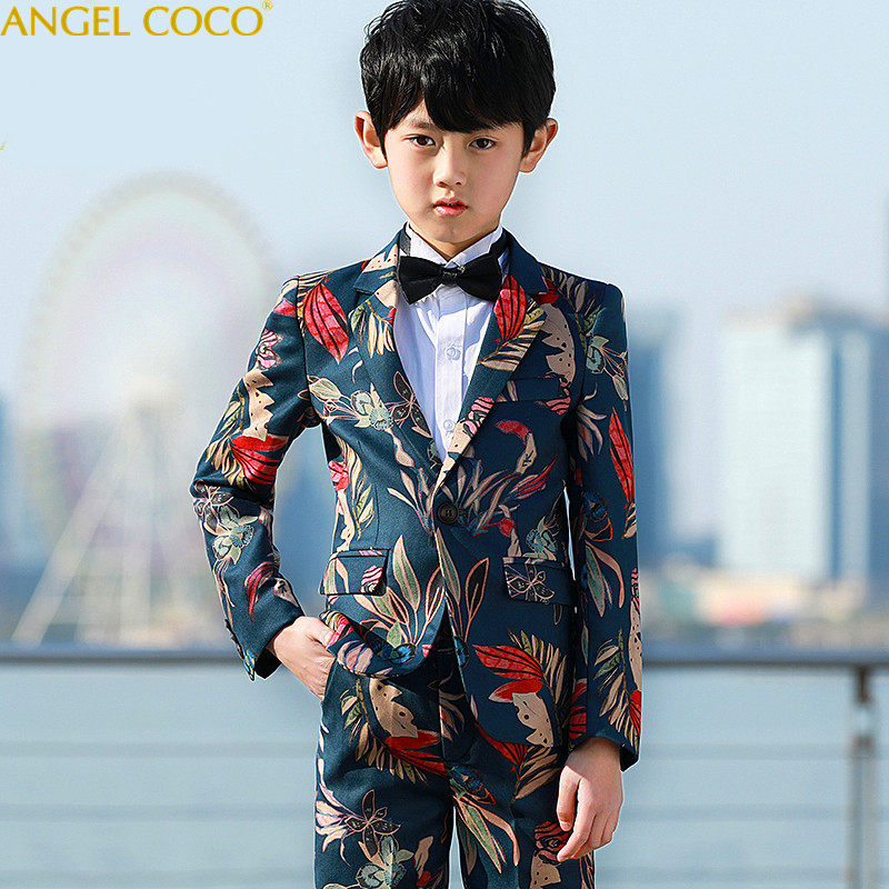 5 piece Handsome Printed Costume Enfant Garcon Mariage Children Suit Kids Blazers Boys Suits For Weddings Vestidos De Noiva durapro 4pcs np f970 np f960 npf960 npf970 battery lcd fast dual charger for sony hvr hd1000 v1j ccd trv26e dcr tr8000 plm a55