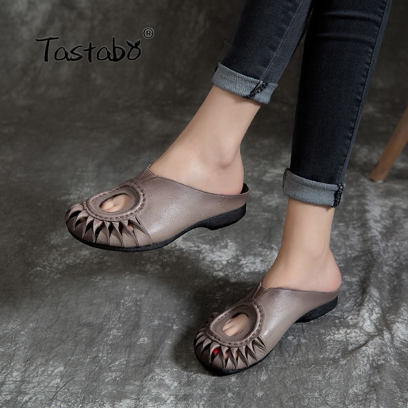 Tastabo Outdoor Hollow Slippers Genuine Leather Shoes Handmade Slides Casual Comfortable Wear resistant anti slip bottom