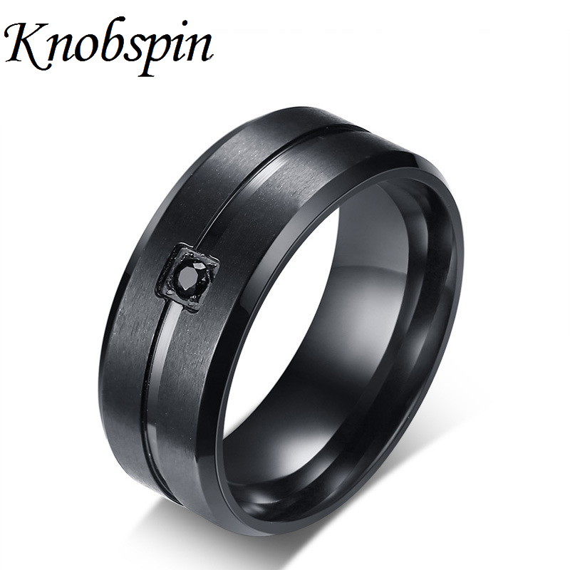 8MM Black Wedding Band Plated Stainless Steel and Square Bezel CZ Grooved Inlay Men Ring Comfort Fit Beveled Edge Male Jewelry