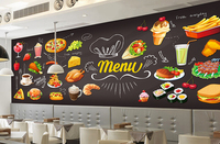 Custom Retro Wallpaper Hand Painted Food 3D Three Dimensional Murals For The Restaurant Cafe Hotel Background