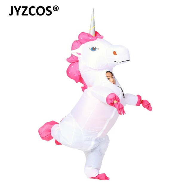 JYZCOS New Unisex Adults Kids Inflatable Unicorn Costume Carnival Halloween Costumes Animal Cosplay Clothing Fancy Dress Suits 3