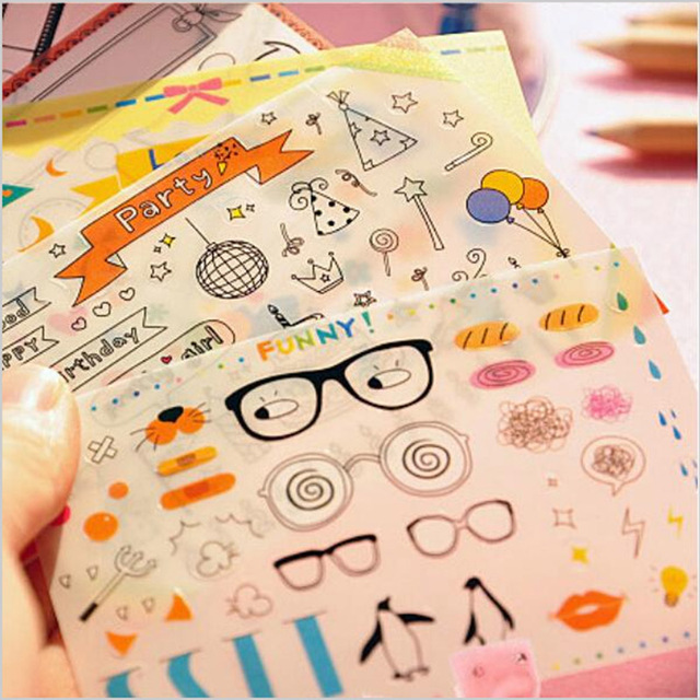 cool stationery items home. 6 Sheets/Bag New DIY Cute Kawaii PVC Photo Deco Stickers Novelty Items For Home Cool Stationery I