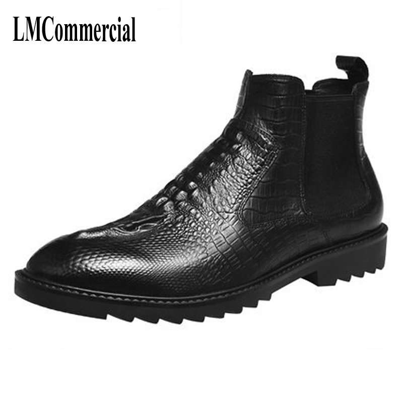 hot 2017 authentic men s boots british tide martin boots men s leather boots leather boots lovers scooter 34 45 Martin male leather boots boots British tide shoes Chelsea crocodile boots stylist male boots