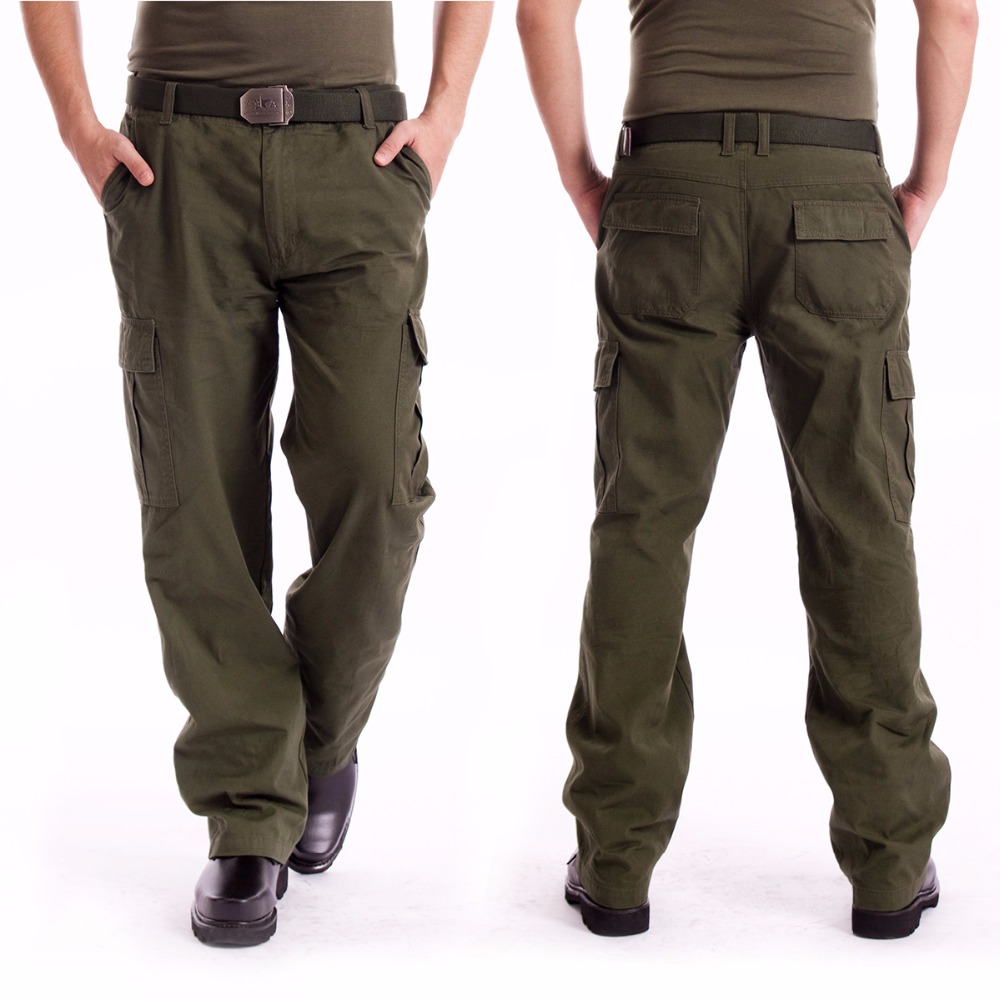 Mens Cargo Pants Millitary Clothing Tactical Pants Outdoor Camo Workwear causal Multi-Pockets Loose Full Length Trousers