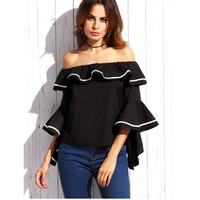 New Summer 2016 Woman Tops Slash Neck Blouse Boho Ethnic Tunic Off Shoulder Ruffle Top Clothing