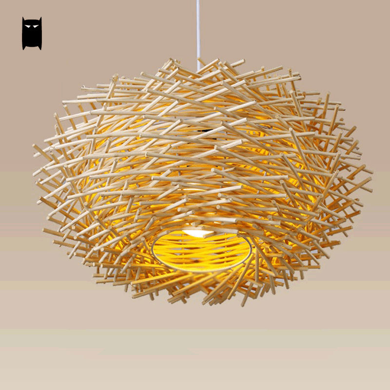 Wicker Bird Nest Pendant Light Fixture Asia Rustic Japan Style Hanging Lamp Luminaria Design Indoor Home Lighting Dining Room modern wicker pendant light bird cage hand knitting pendant hanging dining room lamp american style for living room lighting