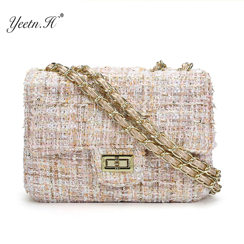 Yeetn.H Women Crossbody Bags Woolen Brand Flap Lady Messenger Bag Chain Women Shoulder Bag Sac A Main Y2061