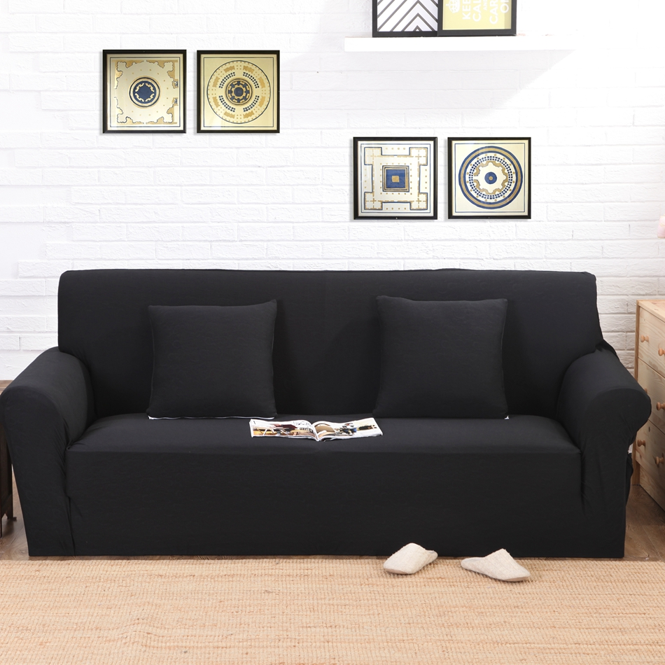 Black Knitted Universal Stretch Sofa Cover For Living Room
