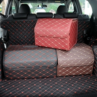 Car Trunk Organizer Box Storage Bag Auto Trash Tool Bag PU Leather Folding Large Cargo Storage Stowing Tidying For BMW
