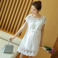 New summer Maternity Dresses White Lace Cute Hollow Dress Clothes For Pregnant Women Maternidade Pregnancy Clothing