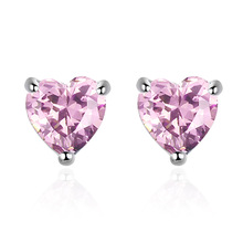 цена Romantic love heart Cubic Zirconia 925 sterling silver ladies stud earrings original jewelry for women anti allergy girls gift в интернет-магазинах