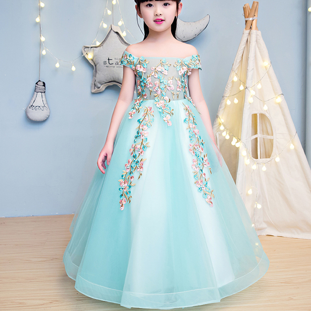 Floral Stripe Tulle Silk Ribbon Tutu Dress Party Princess Clothes ...