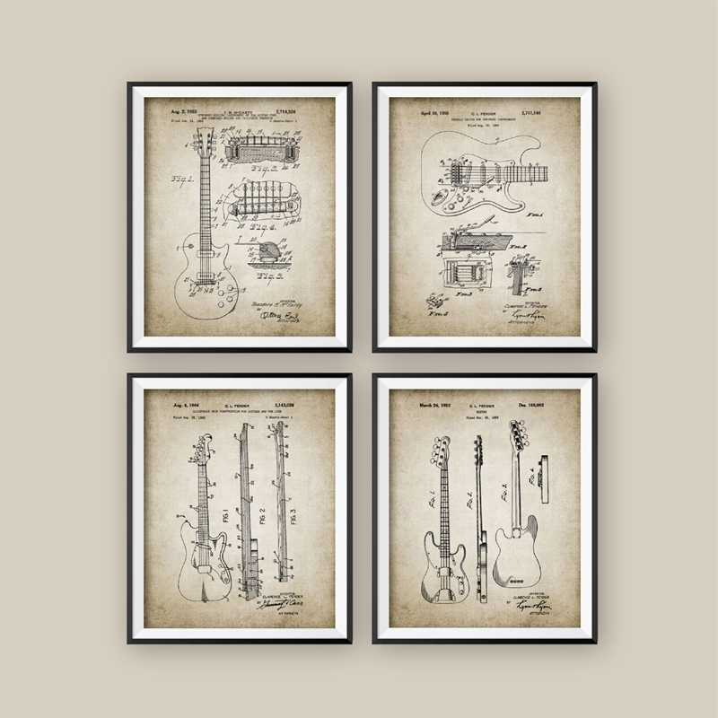 Electric Guitar Patent Vintage Poster Prints , Electric Guitar Design Wall Art Canvas Painting Wall Pictures Guitarist Gift
