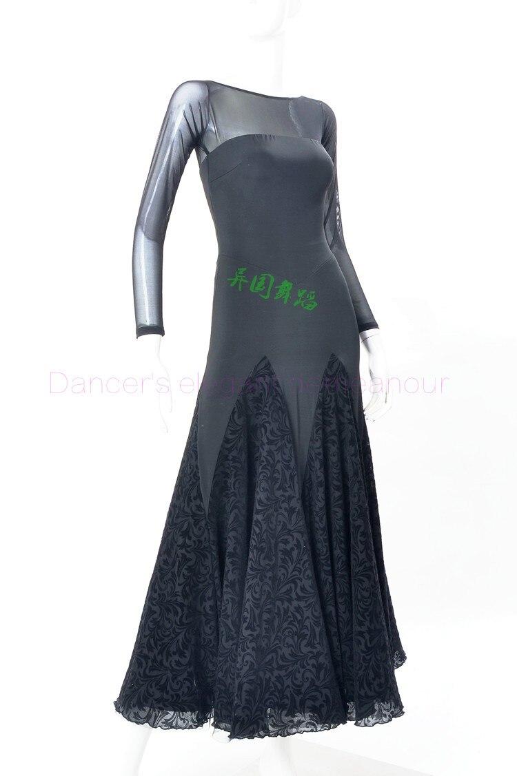 82f0299f70 Nowe stroje taneczne balowej starszy sexy aksamitna gaza długie rękawy  sukienki sukienka dla kobiet tańca towarzyskiego tańca towarzyskiego