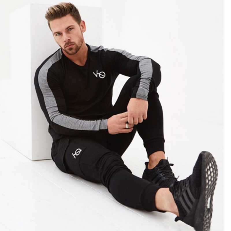 men long sleeved t shirt gyms Fitness-3A