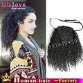 Природные странный вьющиеся ponytail расширения Бразильские волосы шнурок хвост VirginHumanHair афро кудрявый хвостики парик афро пуфы