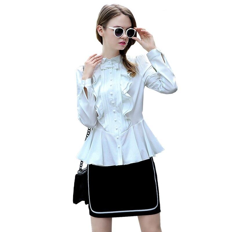 Spring White Blouse Bluse Women Top Long Sleeve Lace Buttons Front Peplum Ruffle Blouse Vintage Slim Lolita Blouse Chemise Femme