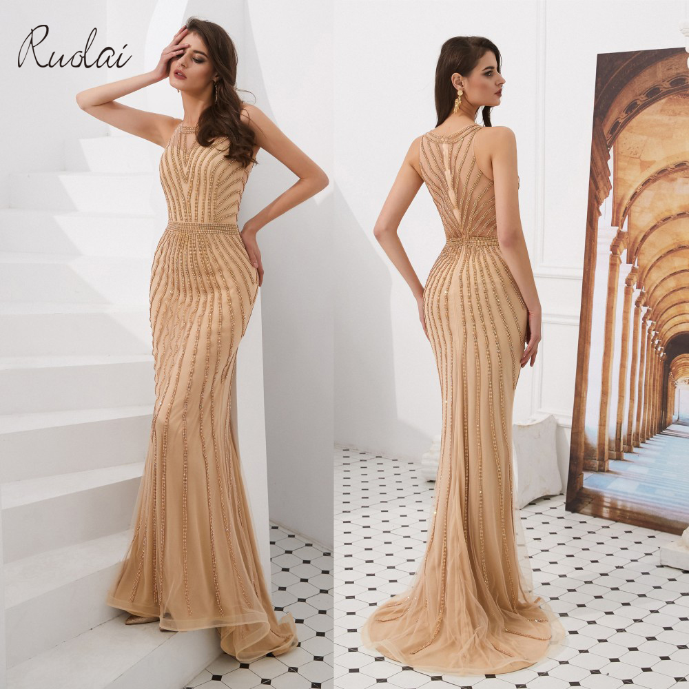 2019 Luxury Charming Mermaid Evening Dresses Long Sleeveless Evening Gown For Women Vestidos De Fiesta De Noche(China)