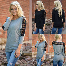 NEW Fashion Women Casual Lace Long Sleeve T-Shirts Tops Loose Ladies T-shirts Hot