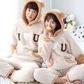 Inverno casal Pijama Conjunto de Pijama Dos Homens de Espessura Coral de Veludo Com Capuz Quente das Mulheres/Homens Confortáveis Homens Salão Sono Define