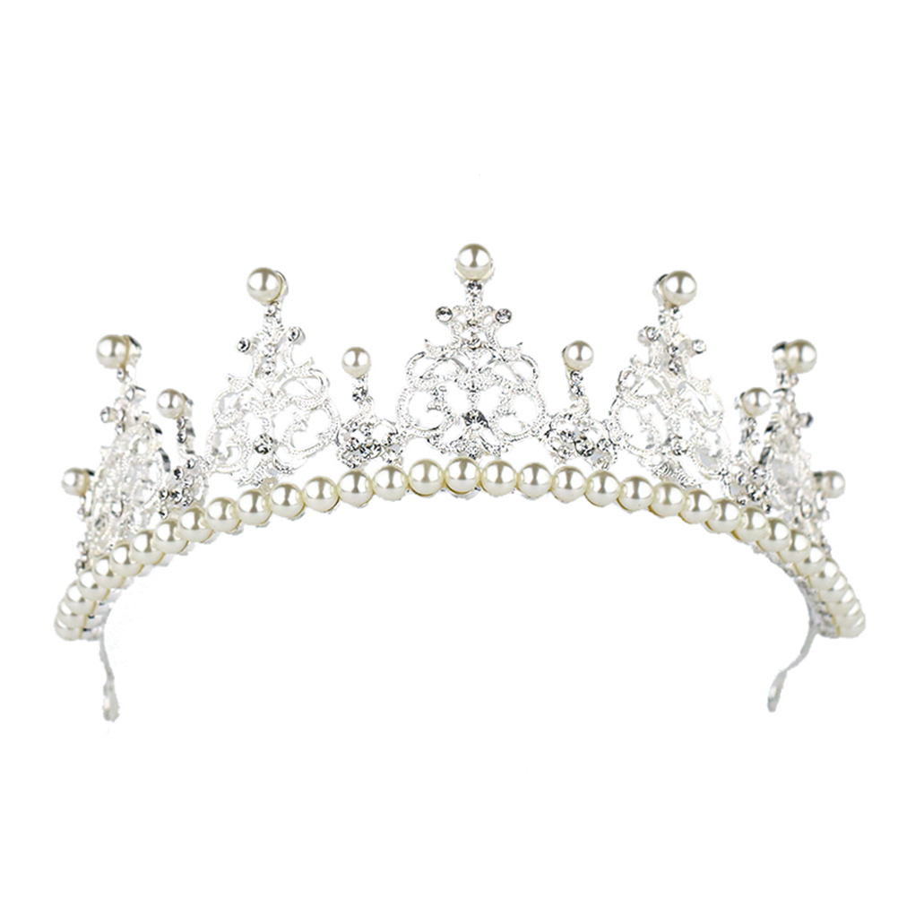 46b Bridal & Wedding Party Jewelry 2 Pageant Bridal Silver Plated Crystal & Faux Pearl Flower Wedding Tiara