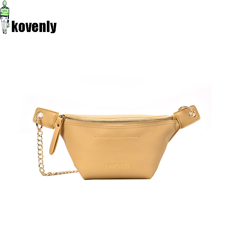 Casual Waist Bag For Women Leather Shoulder Bag Fashion Chest Bags Girl Fanny Pack Crossbody Messenger Packs Waist Pouch A61