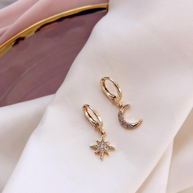 Brincos geométricos assimétricos feminino, brincos pendurados de estrela e lua clássico, joia coreana, 2019