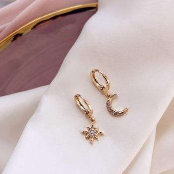 2019 New Arrival moda klasyczne geometryczne kobiety dynda kolczyki asymetryczne kolczyki gwiazdy i księżyca kobiet koreańska biżuteria tanie i dobre opinie NoEnName_Null Ze stopu cynku Spadek kolczyki Klasyczny Metal