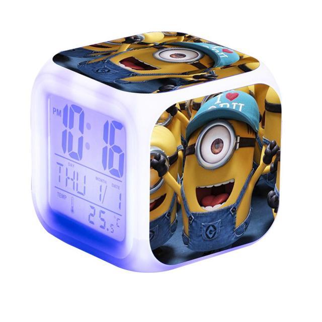 Kids Alarm Clock Glowing LED Light 6 Color Change Minions Digital Alarm Clock Children Toys Reloj Despertador Saat Wekker Reveil