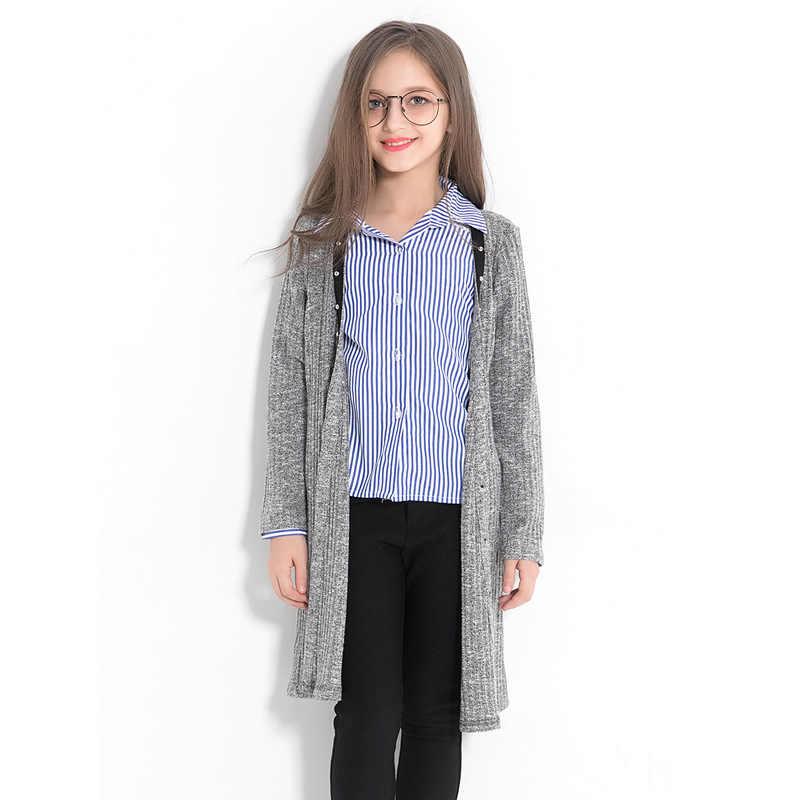 Мода подростков Свитера для девочек пальто Серый кардиган свитера Дикий Повседневное детская одежда свободные трикотажные Осенне-весенняя верхняя одежда