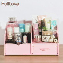 FullLove Wooden Cosmetics Storage Drawers & Racks Solid Color Pink Jewelry Casket 2 Grids DIY Make Up Box Desktop Organizer