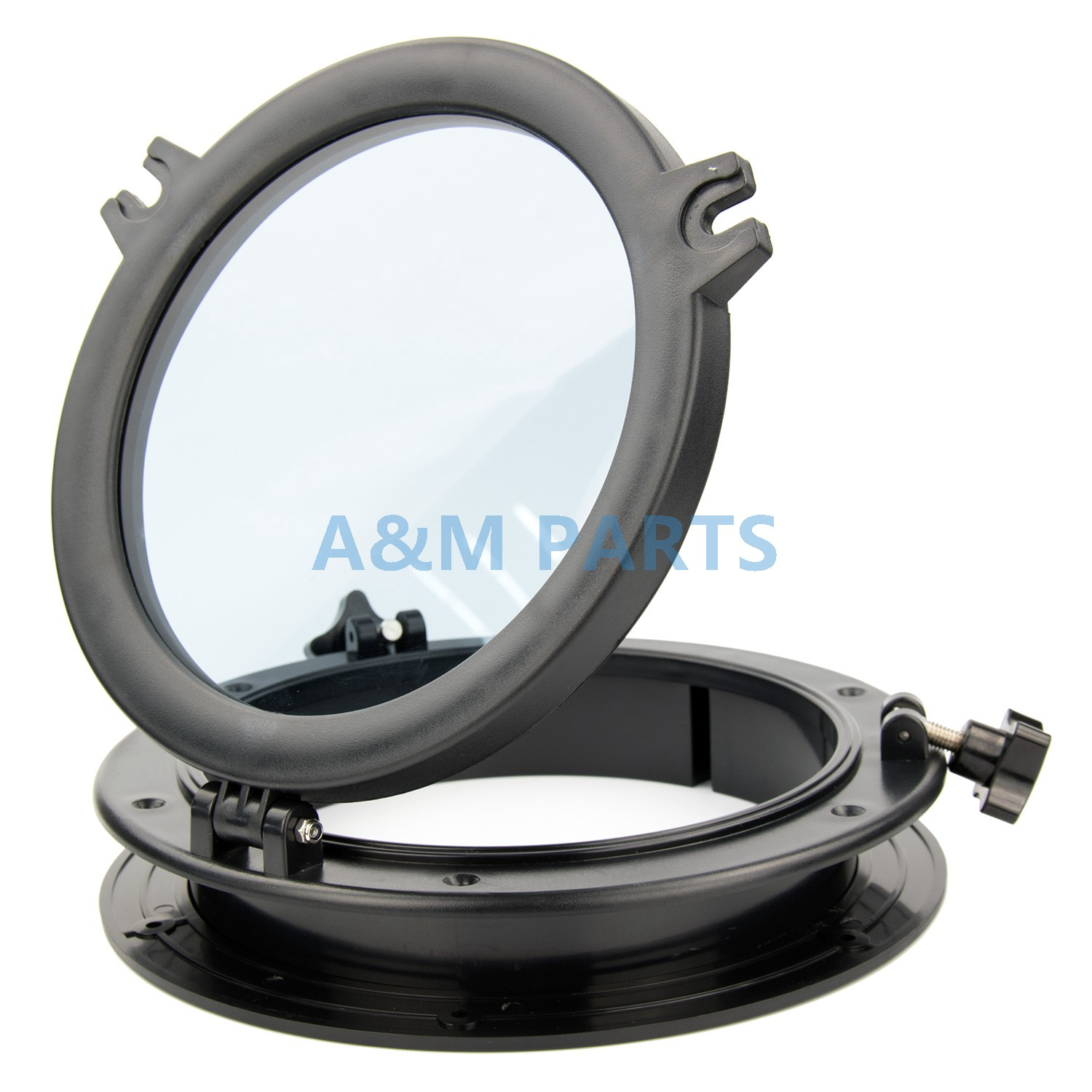 10'' Marine <font><b>Boat</b></font> RV Porthole Plastic Round Hatches Port Lights <font><b>Windows</b></font> Black image