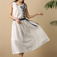 Flower Embroidery Drawstring Tunique Femme Women Summer Tunic Flare Dress Cotton Linen Elegant Ladies Midi Dress