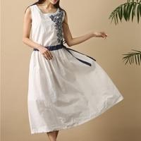Flower Embroidery Drawstring Tunique Femme Women Summer Tunic Flare Dress Cotton Linen Elegant Ladies Midi Dress