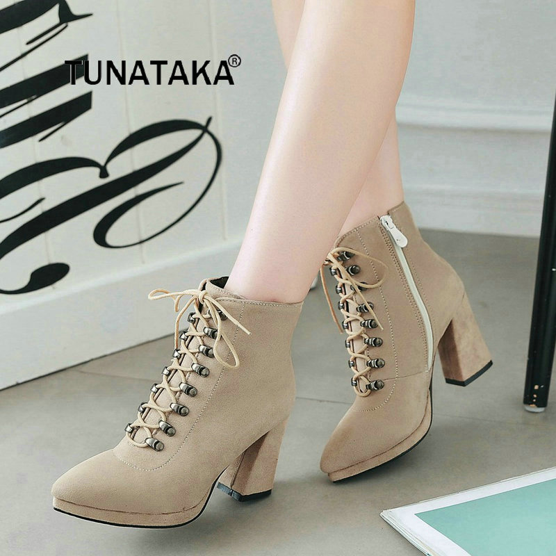 Women Lace Up Platform Square Heel With Side Zipper Ankle Boots Fashion Pointed Toe Keep Warm Winter Shoes Black Apricot