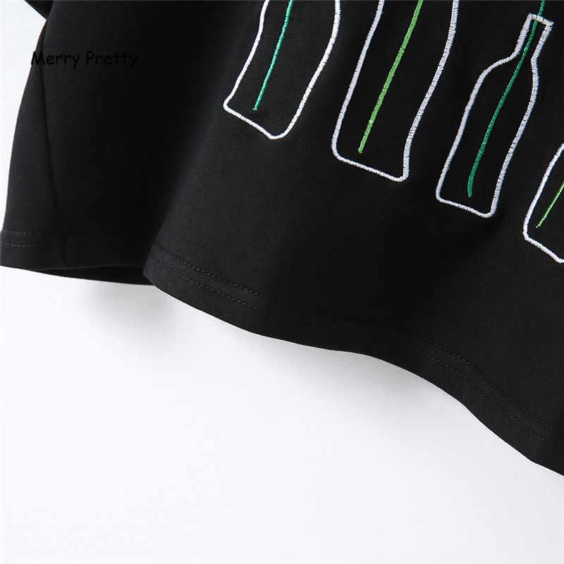 メリークリスマスかわいい原宿夏黒 tシャツ女性ボトル植物刺繍綿クロップトップス半袖パンク半袖 tシャツトップ