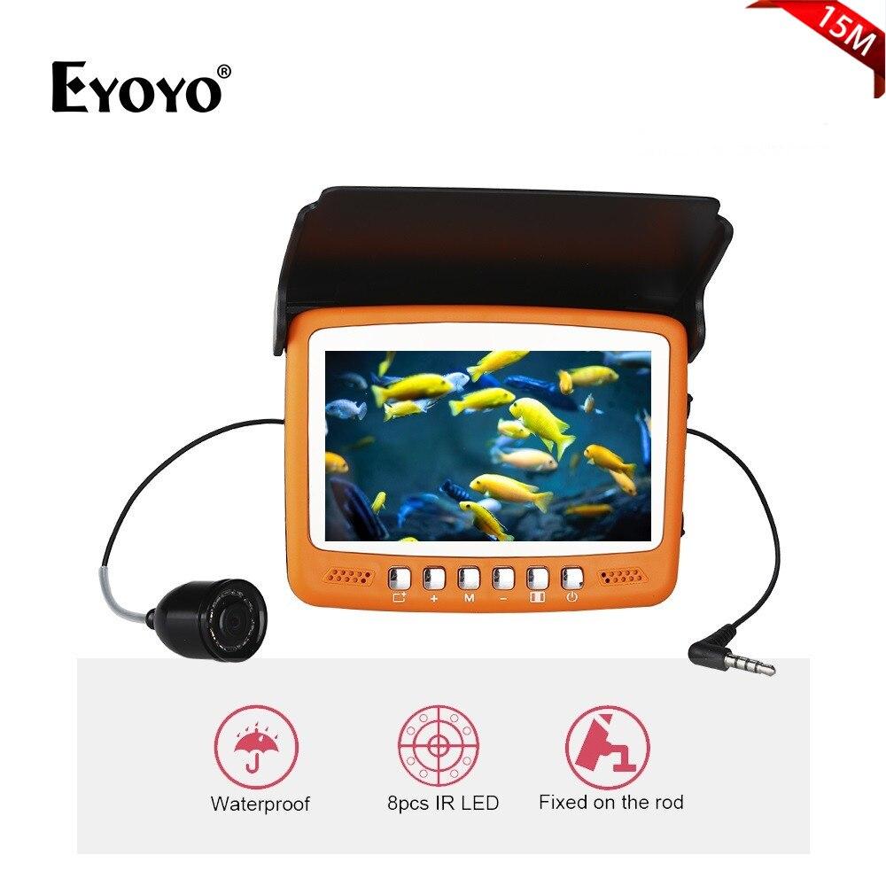 Eyoyo 7HBS Фирменная Новинка 15 м 1000TVL рыболокаторы подводный Ice Рыбалка камера 4,3 ЖК дисплей Мониторы 1000TVL 8 шт. инфракрасный светодио дный