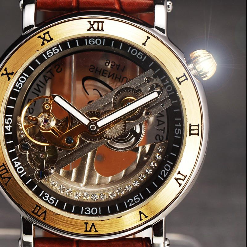 ФОТО 2016 New Fashion Watches Men Luxury Steel Bridge Case Transparent Skeleton Automatic Mechanical Leather Strap Antique Wristwatch