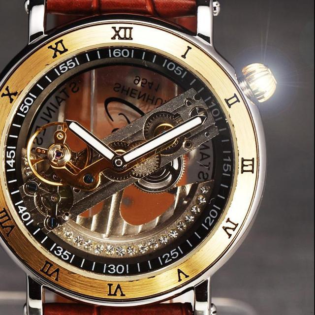 2016 Nueva Moda Relojes Hombres de Acero de Lujo Caso Puente Transparente Correa de Cuero Mecánico Automático Esquelético Reloj de Pulsera Antiguos