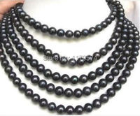 New natural beautiful black pearl Long Necklace Jewelry women fashion with wholesale and retail free shipping100inch