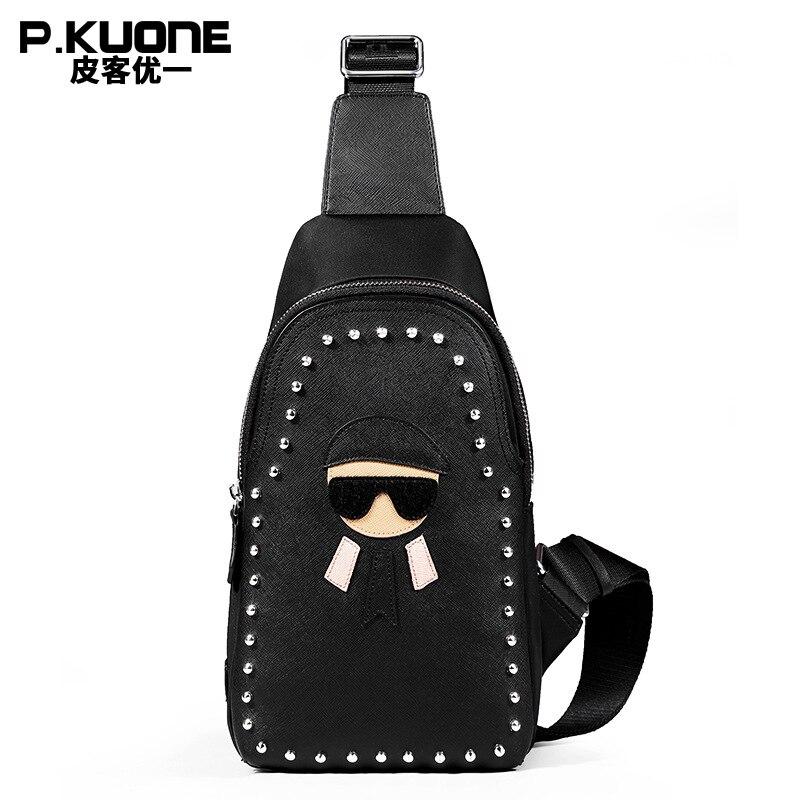 P.KUONE 2018 Fashion Luxury Design Split Leather Chest Pack Bag Women Single Shoulder Bags Female Black College Cross body Bag awo compatibel projector lamp vt75lp with housing for nec projectors lt280 lt380 vt470 vt670 vt676 lt375 vt675