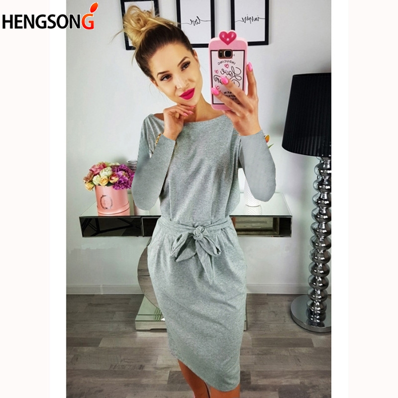 Spring Autumn Dress Elegant Women's Dresses Casual O Neck Long Sleeve Lace Up Belt Vestido Slim Pencil Knee-Length Dress