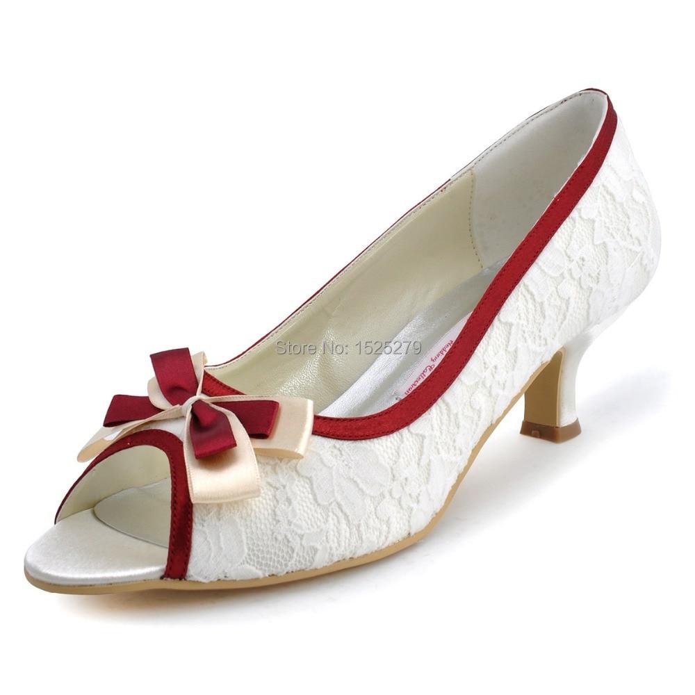 Envío gratis ML-004 Mujeres Marfil de encaje Borgoña Recortar Novia - Zapatos de mujer